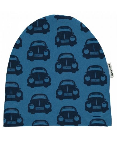 Maxomorra Beanie Hat Blue Cars (40/42 only)